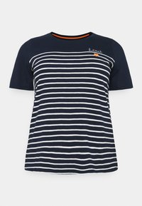 MY TRUE ME TOM TAILOR - STRIPED CHEST EMBRO - Print T-shirt - sky captain blue - 0