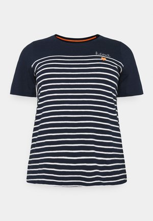 STRIPED CHEST EMBRO - Print T-shirt - sky captain blue