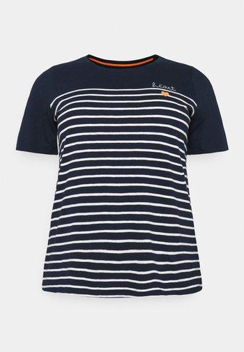 STRIPED CHEST EMBRO - Print T-shirt - sky captain blue