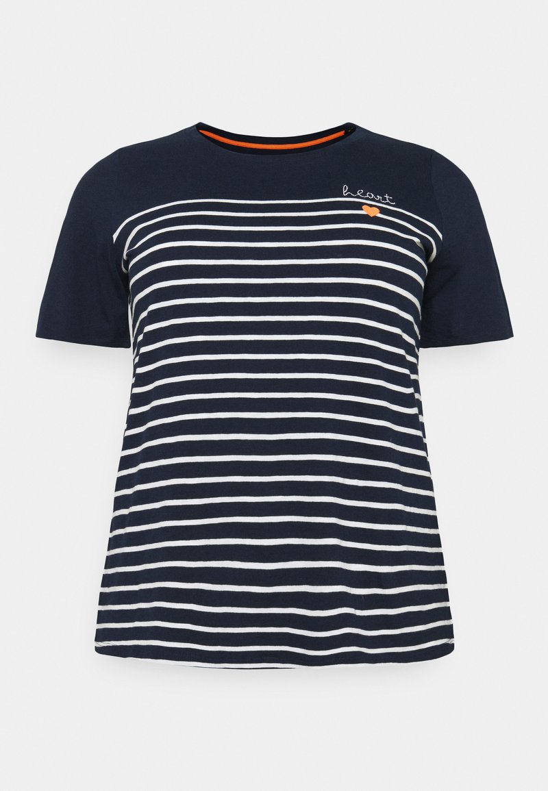 MY TRUE ME TOM TAILOR - STRIPED CHEST EMBRO - Print T-shirt - sky captain blue
