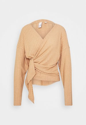 LUXURIOUS WRAP - Long sleeved top - beige