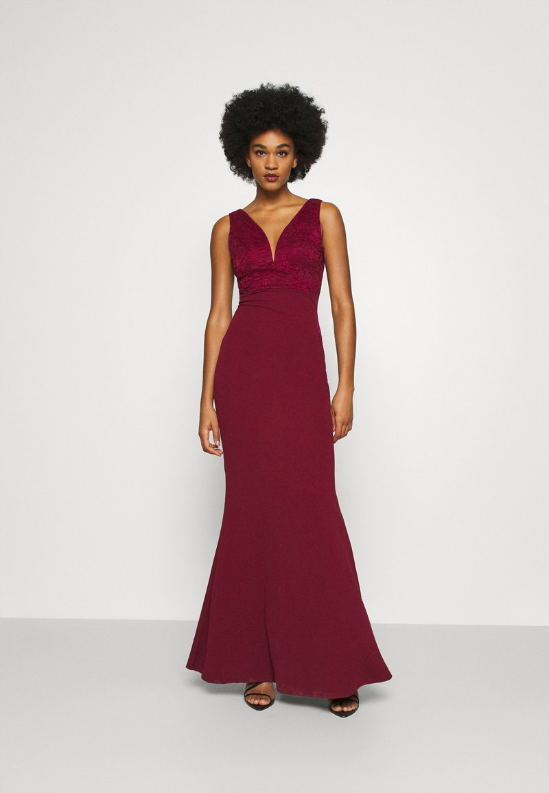 WAL G. - SLEEVELESS V NECK DRESS WITH SIDES - Occasion wear - wine