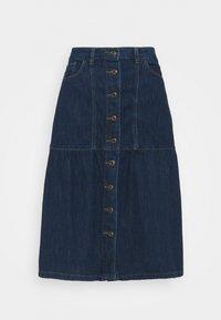 Springfield - FALDA MIDI VOLANTES - Denim skirt - medium blue - 0