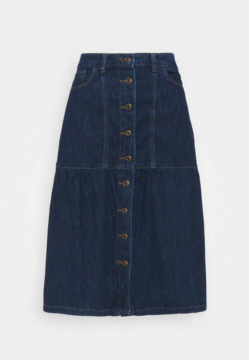 Springfield - FALDA MIDI VOLANTES - Denim skirt - medium blue