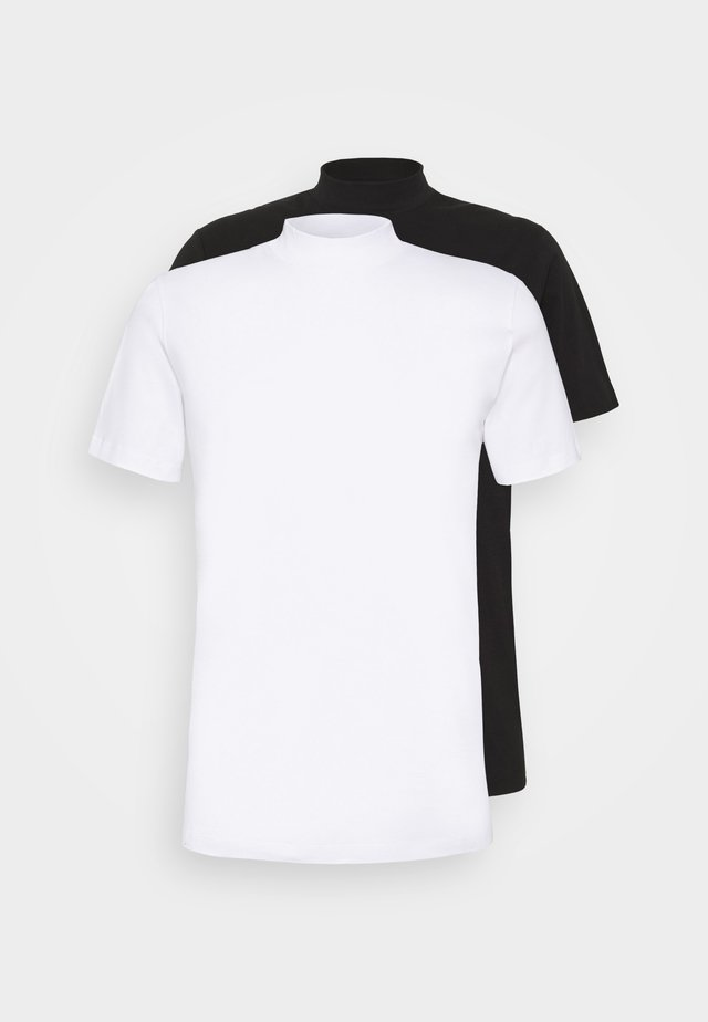 JPRBLA BASIC TEE TURTLE 2 PACK - Basic T-shirt - white/black