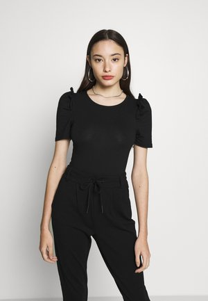 PUFF SLEEVE BODY - Jednoduché triko - black