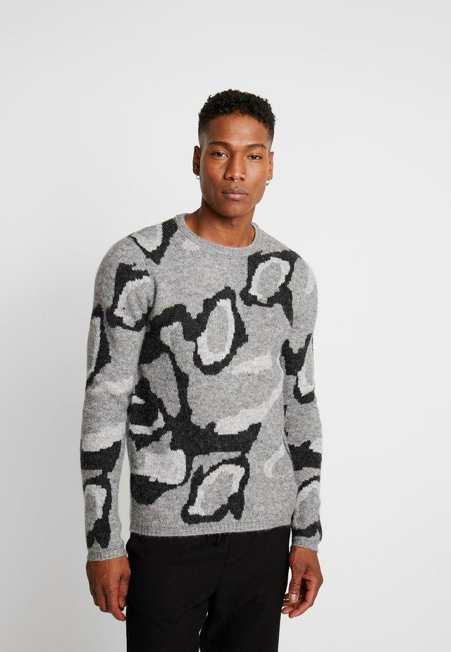 JPRDARK KNIT CREW NECK - Pullover - dark grey melange