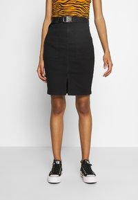 Pieces - Pencil skirt - black denim - 0