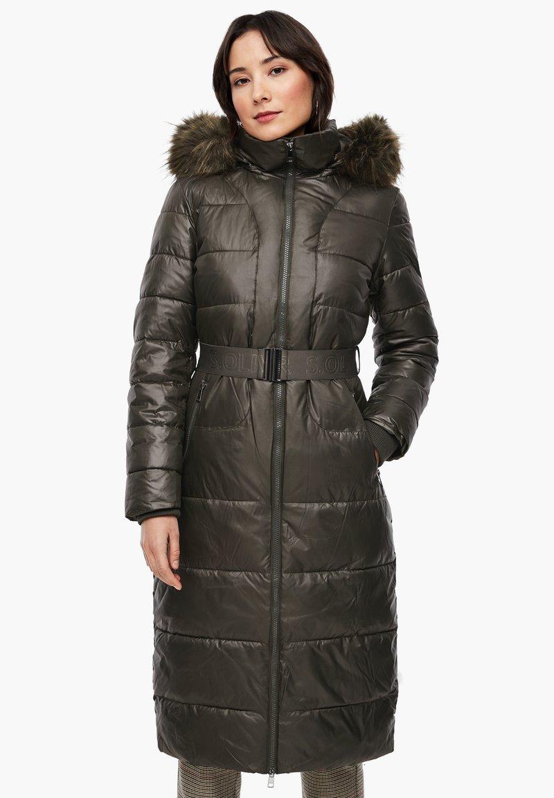 s.Oliver - MIT LOGO-GÜRTEL - Winter coat - khaki