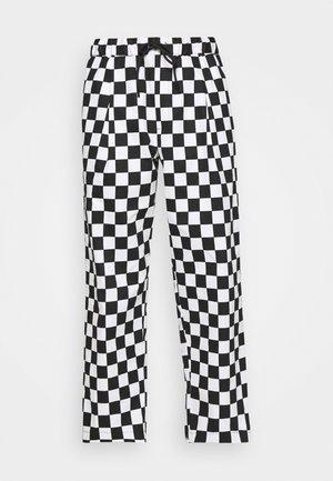 ELASTIC WAISTBAND BAGGY TROUSERS - Pantalon classique - black/white