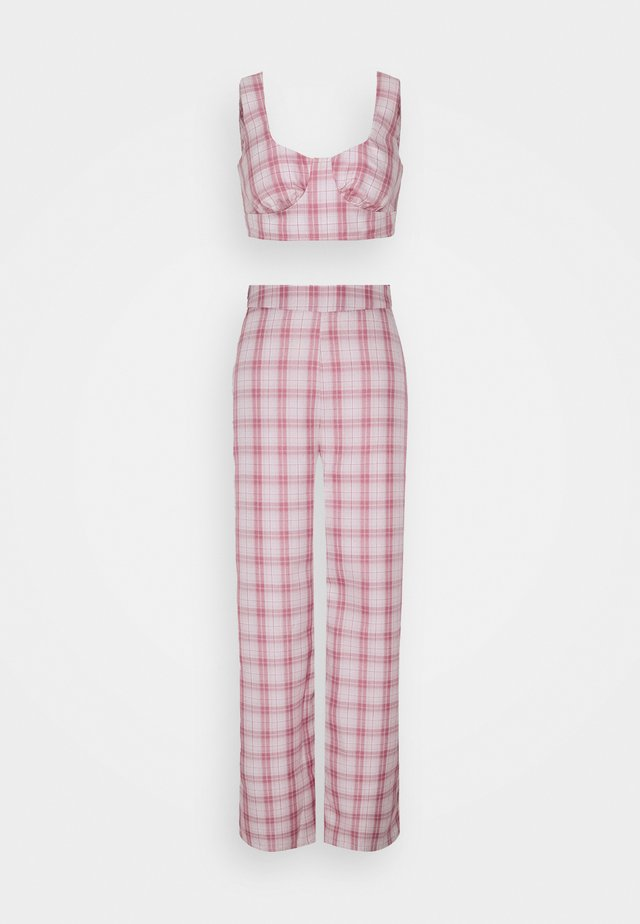 GINGHAM BRALET AND WIDE LEG  - Linne - pink