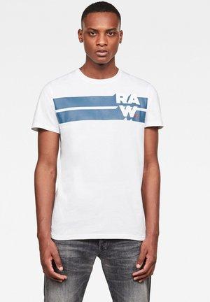 RAW. STRIPE GRAPHIC ROUND SHORT SLEEVE - Print T-shirt - white