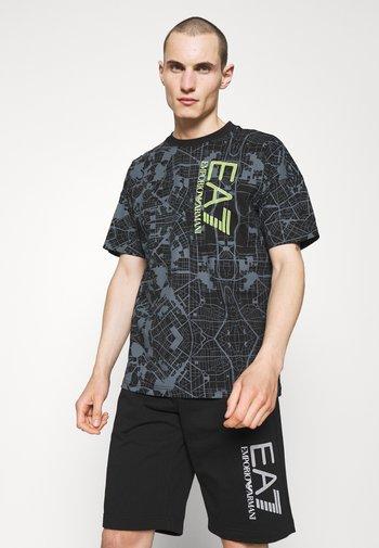 Print T-shirt - black/neon yellow