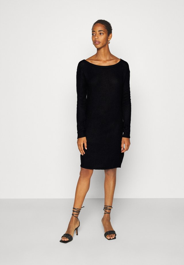 AYVAN OFF SHOULDER JUMPER DRESS - Gebreide jurk - black