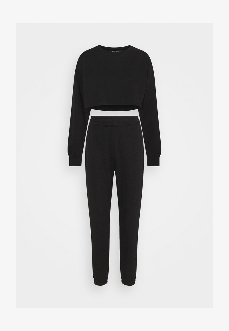 Missguided Petite - CROP JOGGER COORD SET - Tracksuit bottoms - black