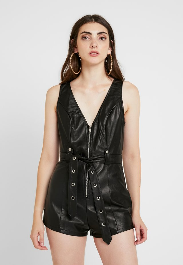 SLEEVELESS ROMPER WITH SELF TIE - Mono - black