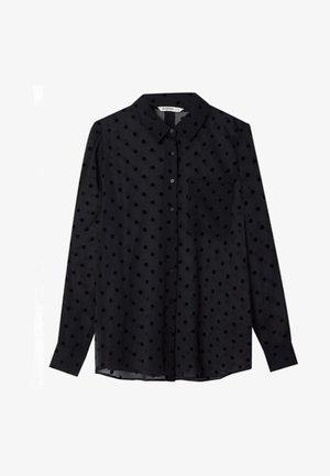 HALBTRANSPARENTES - Button-down blouse - black