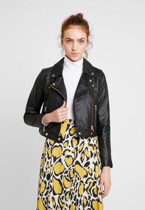 OBJFAIZA JACKET - Leather jacket - black