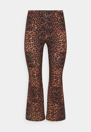 LEOPARD PRINT KICK FLARE - Trousers - chocolate/black