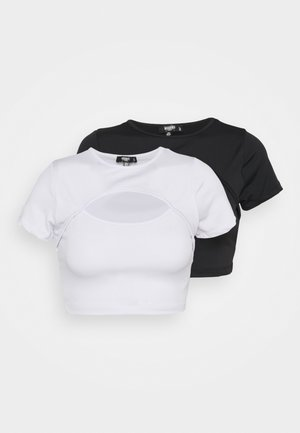 CUT OUT CAP SLEEVE CROP 2 PACK - Print T-shirt - black/white