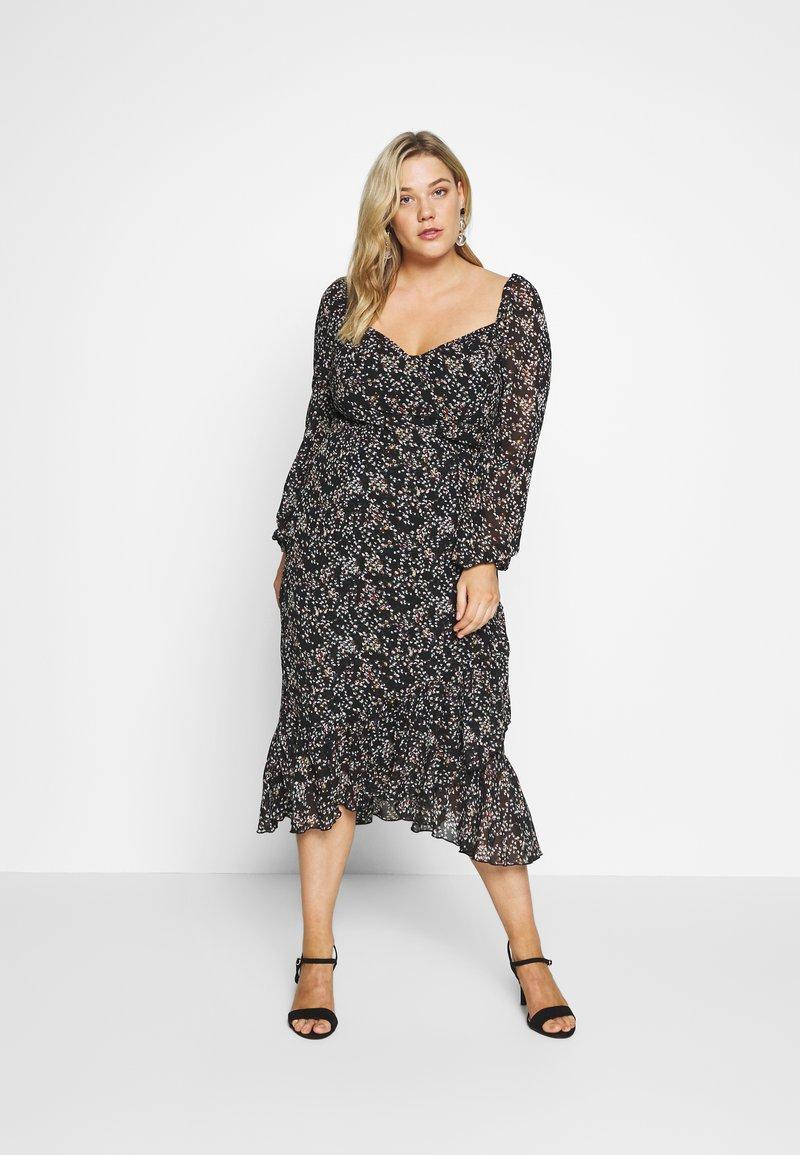 Missguided Plus - MILKMAID LONG SLEEVE MIDI DRESS - Maxi dress - black