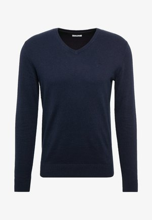 BASIC V NECK  - Jumper - navy melange