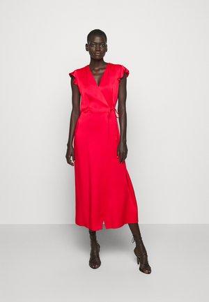 ABITO LUNGO A PORTAFOGLIO IN CADY ENVER  - Maxi dress - rosa neon
