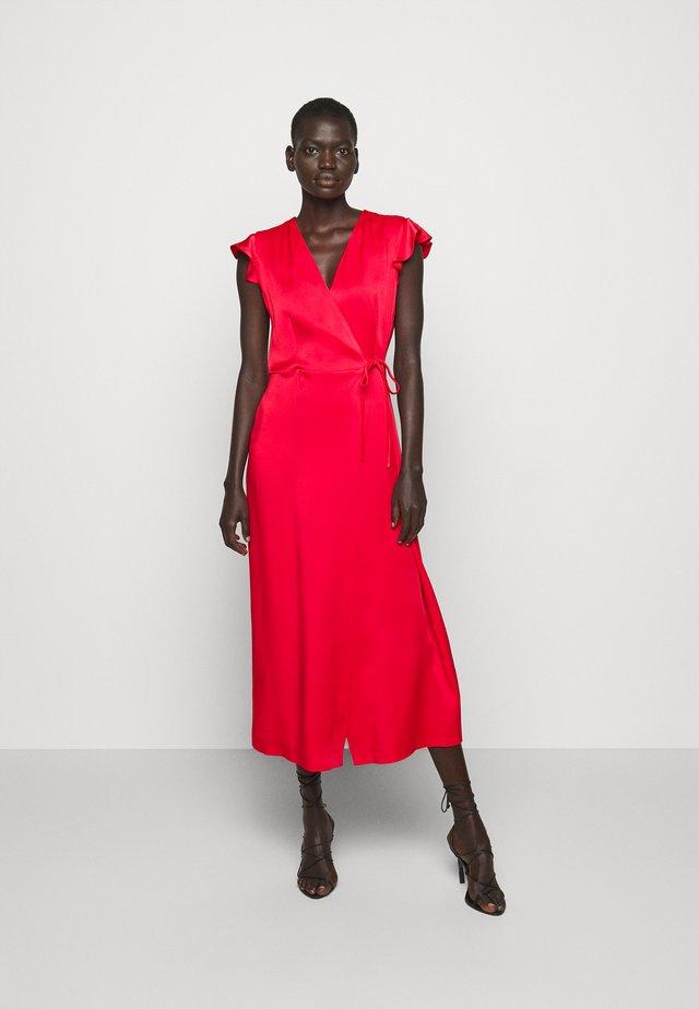 ABITO LUNGO A PORTAFOGLIO IN CADY ENVER  - Długa sukienka - rosa neon