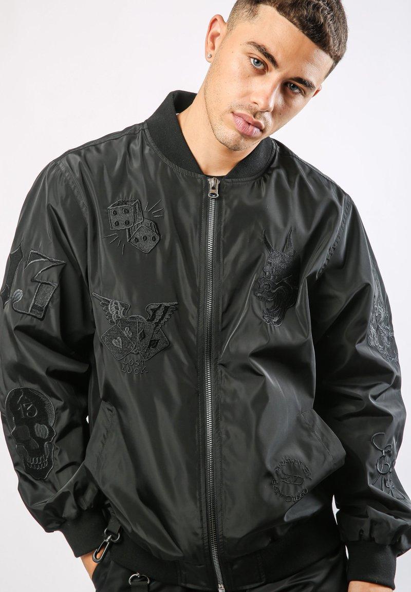 Ed Hardy - DRAG-CLOUD NYLON BOMBER JACKET - Summer jacket - black