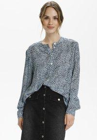 Kaffe - Button-down blouse - chambray blue, black dot - 0