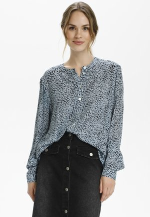 Button-down blouse - chambray blue, black dot