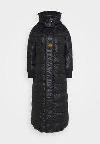 EXTRA LONG HOODED PADDED PUFFER  - Winter coat - dk black