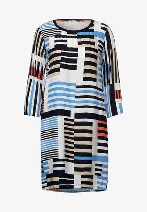 MIT STREIFEN MUSTER - Jersey dress - blau