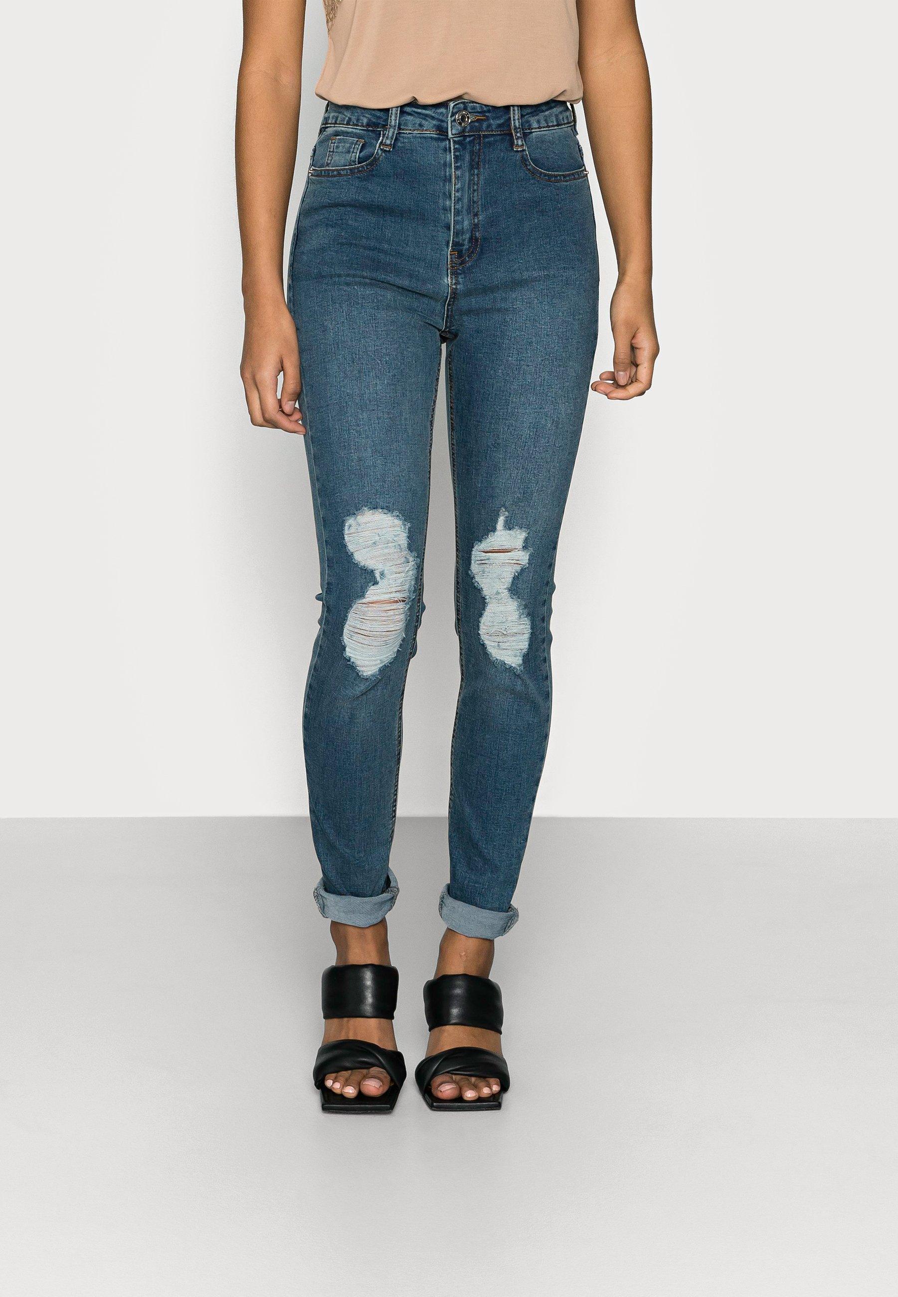 Women SINNER DISTRESS KNEE CUT HIGH WAIST - Jeans Skinny Fit