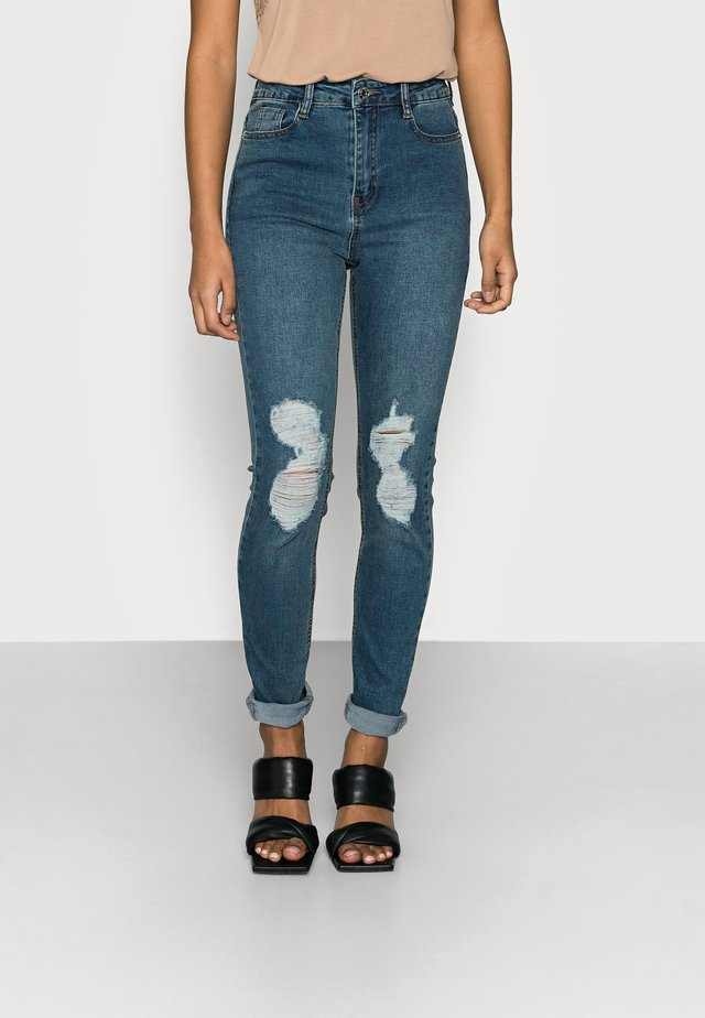 SINNER DISTRESS KNEE CUT HIGH WAIST - Jeans Skinny Fit - blue
