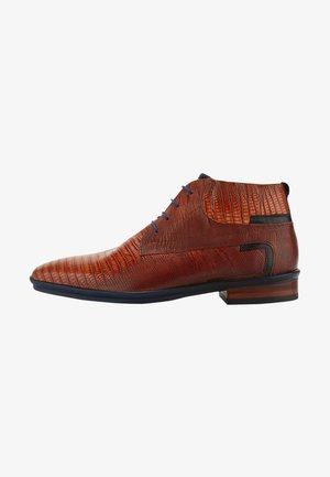 LIZARDPRINT - Lace-up ankle boots - cognac