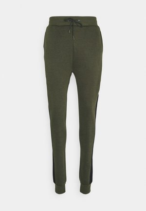TRAX - Tracksuit bottoms - khaki/grey grindle/optic white/jet black