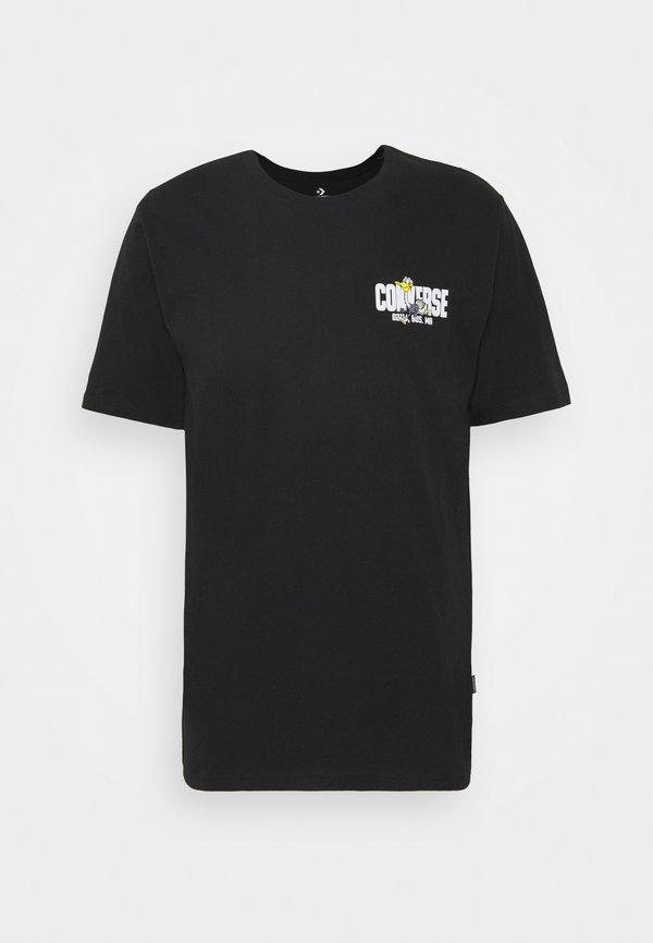 Converse KEEP MOVING SHORT SLEEVE TEE - T-shirt z nadrukiem - black/czarny Odzież Męska VVCU