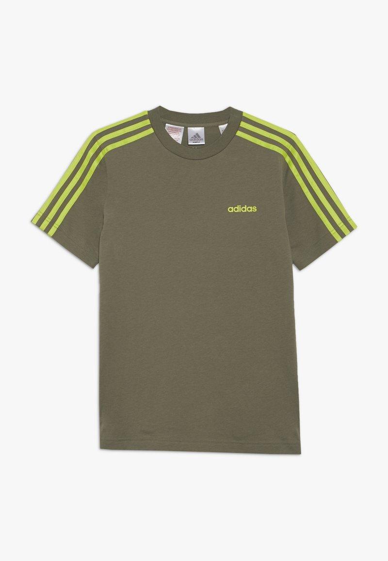 adidas Performance - ESSENTIALS 3STRIPES SPORT SHORT SLEEVE TEE - T-shirt print - olive/light green