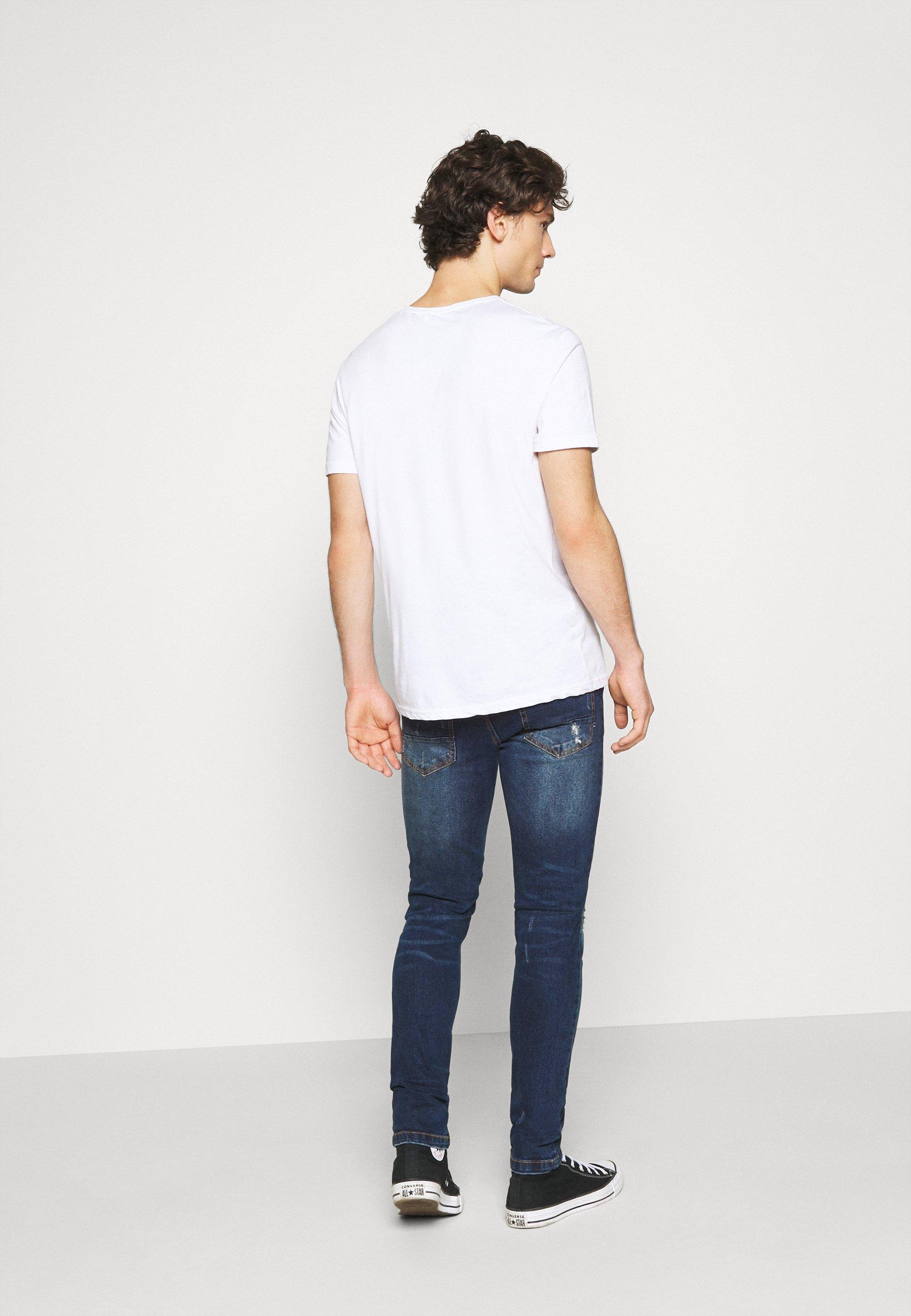 Denim Project Mr Red - Jeans Skinny Fit Dark Blue Destroy/blå
