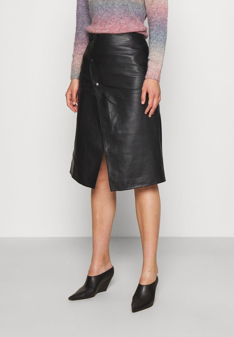 STUDIO ID - HOLLY WRAP ASYMMETRIC MIDI SKIRT - A-line skirt - black