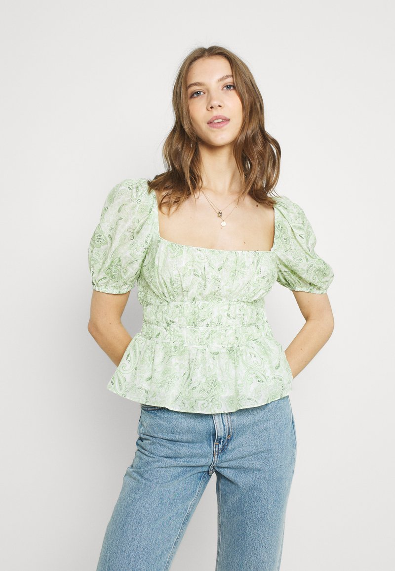 Forever New - RUCHED WAIST DETAIL BLOUSE - Pusero - evergreen paisley