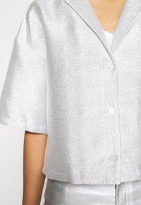 Monki - FANNY BLOUSE - Button-down blouse - silver - 5
