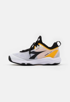 SPEED BLUSHIELD FLY 3 + CLAY - Clay court tennis shoes - white/black/saffron