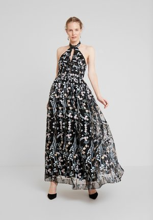 ALL OVER EMBROIDERED PROM MAXI DRESS WITH KEYHOLE - Gallakjole - multi