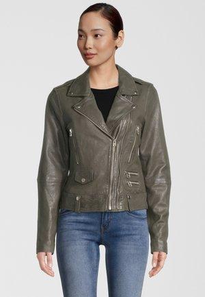 Leren jas - dark khaki
