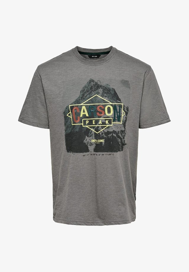 T-shirt con stampa - medium grey melange