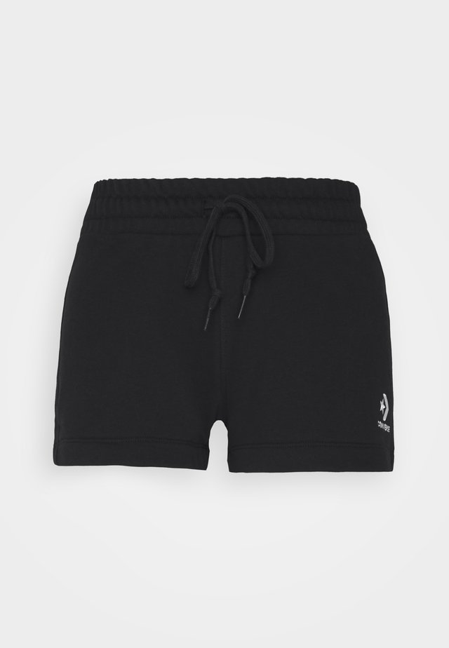 EMBROIDERED FRENCH TERRY SHORT - Shorts - black