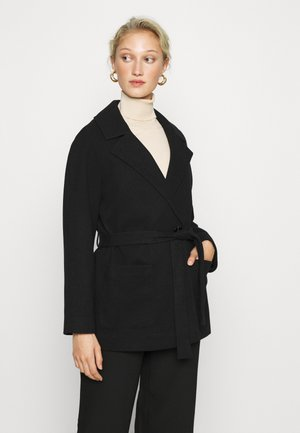 SHORT WRAP BELTED COAT - Manteau classique - black