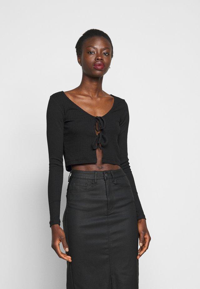 TIE UP CARDIGAN TOP  - Long sleeved top - black